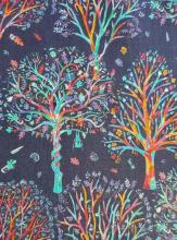 The Artists Tree A, dunkelblau, Liberty Print auf Tana Lawn Batist, Liberty Art Fabric