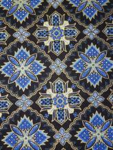 Batik Waxprint Baumwollstoff Java Blue Ornaments