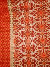 Batik Waxprint Sarongstoff Java Amber Orange Ornaments